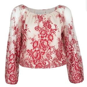 Alice +Olivia red and cream embroidered lace top